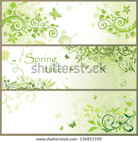 Green floral horizontal banners - stock vector