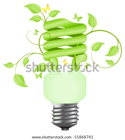 Green floral power saving lamp. Isolated on white background. Vector illustration.