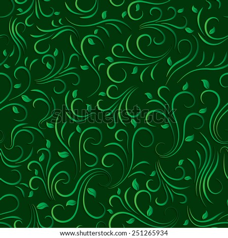 green floral seamless pattern - stock vector