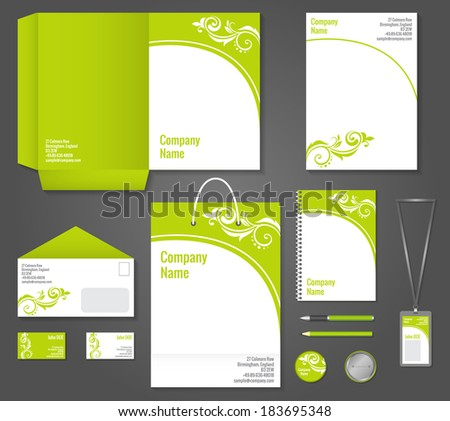 Green floral wavy business stationery template for corporate identity and branding set vector illustration - stock vector