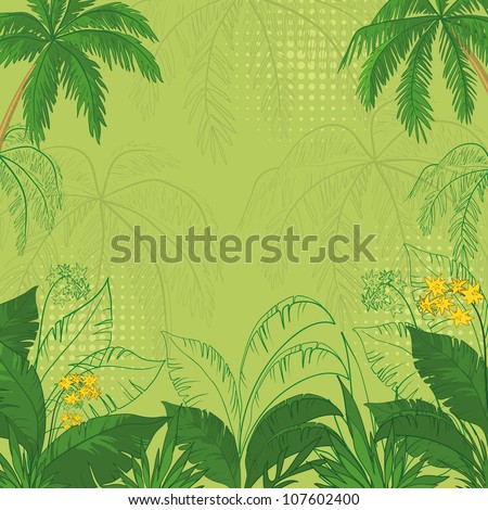green flower background with tropical flowers, palm trees leaves and contours. Vector illustration - stock vector