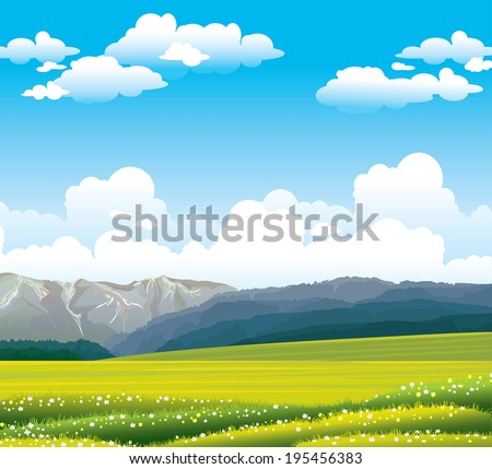 Green flowering field with forest and mountains on a blue sky with clouds. Nature vector landscape.