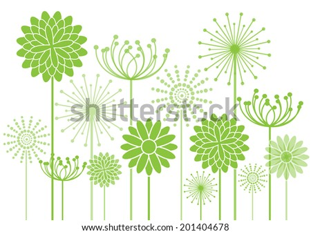 green flowers silhouettes vector background - stock vector