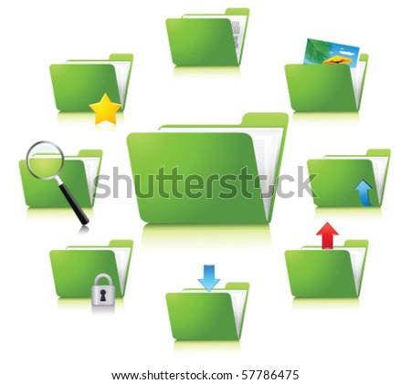 green folders. Vector - stock vector