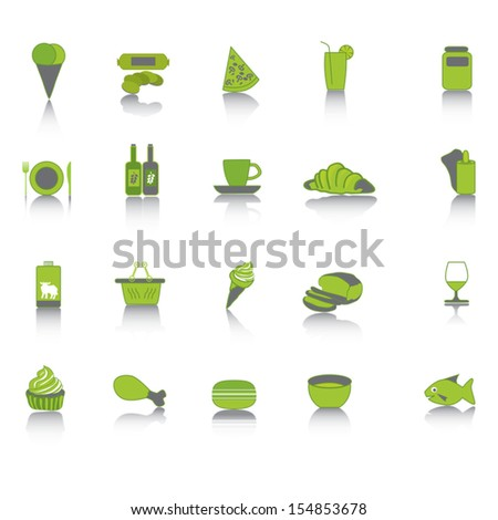 Green food collection set icons. - stock vector