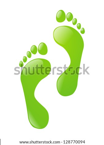 Green foot steps isolated on white - stock vector