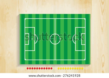 Green Football field on wood, vector.