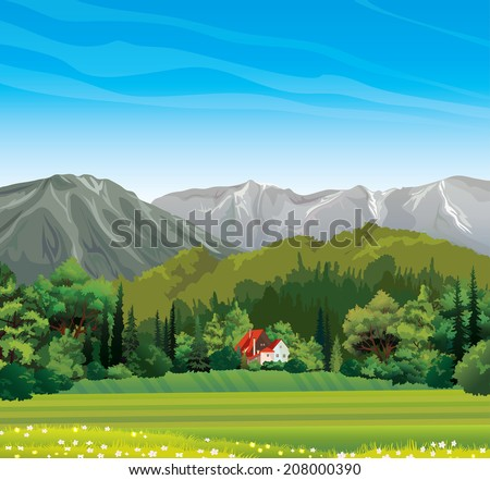 Green forest and house with red roof on a blue sky background. Nature vector landscape.