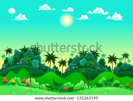 Green forest. Vector illustration. The sides repeat seamlessly for a possible, continuous animation. - stock vector