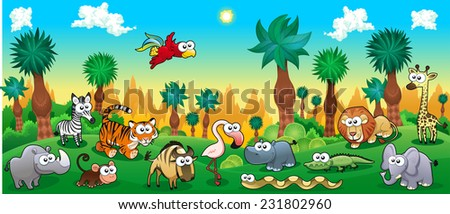 Green forest with funny wild animals. Vector cartoon illustration.  - stock vector