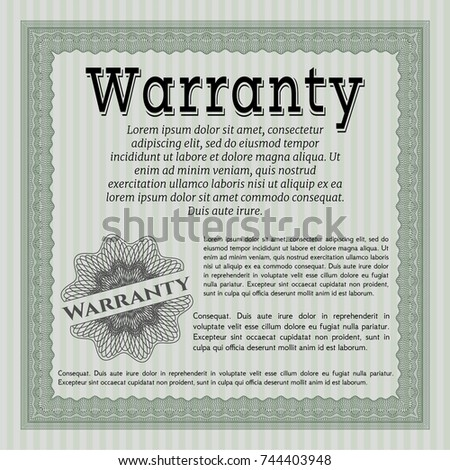 Warranty card stock images royalty free images vectors green formal warranty certificate template sophisticated design customizable easy to edit and change yelopaper Choice Image
