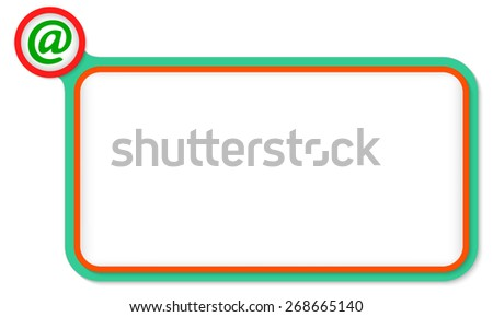 Green frame for your text and email icon - stock vector