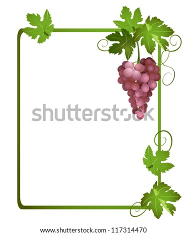 green frame with a bunch of grapes - vector