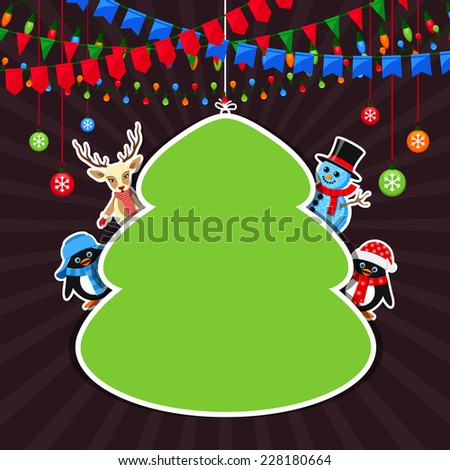 Green frame with Christmas characters - stock vector