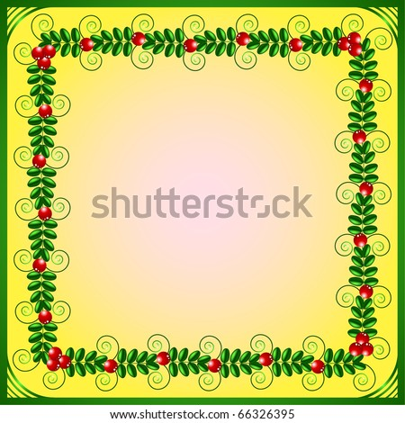 Green frame with leafs and berries on a yellow background