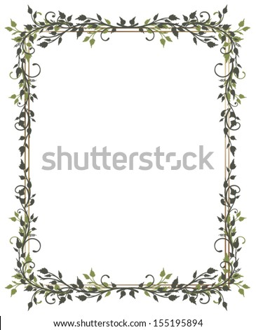 Green frame with leaves, spring time. - stock vector