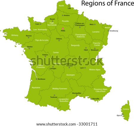 Green France map with regions and main cities - stock vector