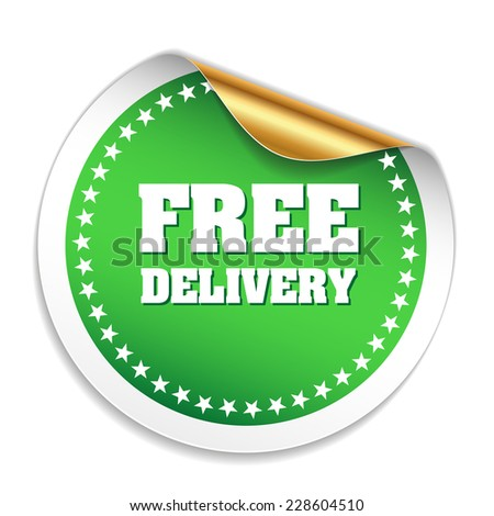 Green free delivery sticker with metallic peel on white background
