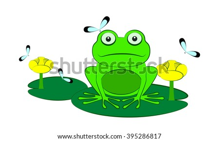 Green frog among water lilies and dragonflies