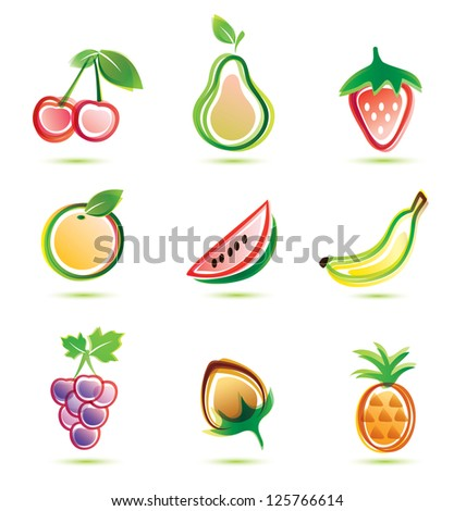 green fruits icons set, organic food concept - stock vector