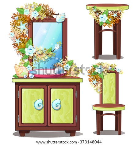Green furniture in marine style. Vector.