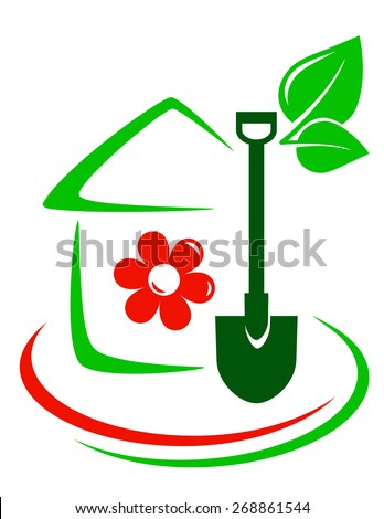 green garden icon with house, flower, shovel and decorative line - stock vector
