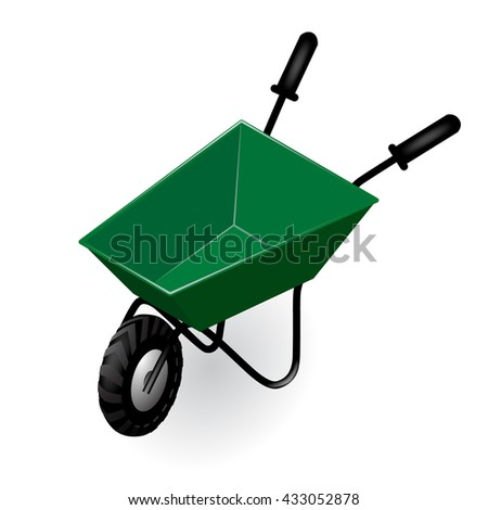 Lovely Green Garden Isometric Wheelbarrow Isolated On White. Housekeeping And  Gardening Icon And Concept Design.