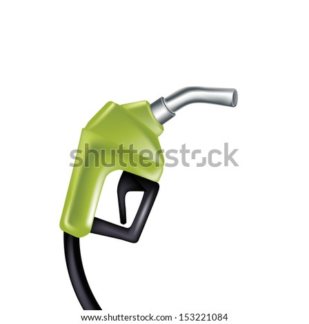 green gas pump nozzle isolated on white background