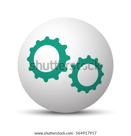 Green Gears icon on white sphere