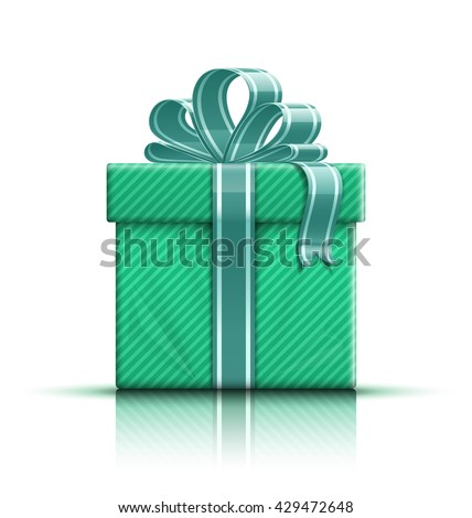 Green gift box with ribbon and bow. Vector illustration - stock vector