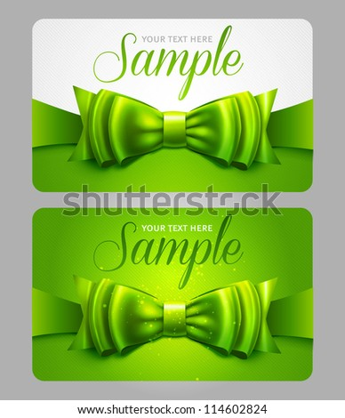 Green gift cards with bow - stock vector