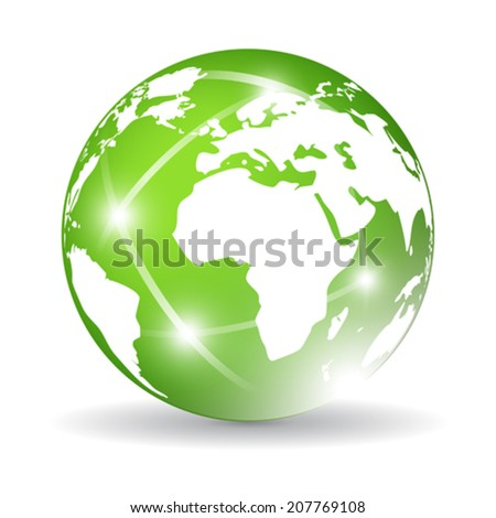 Green glass globe - stock vector