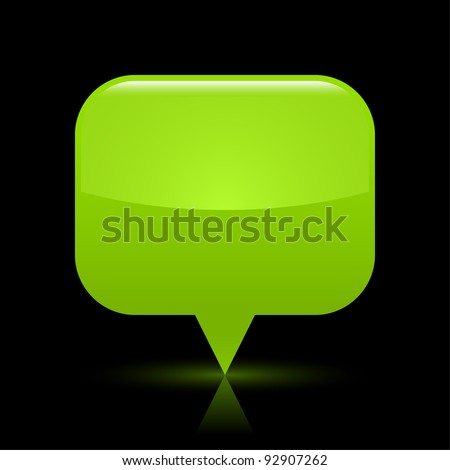 Green glassy empty map pin button web icon. Rounded rectangle shape with glowing shadow and color reflection on black background. This vector illustration saved in file eps 8 - stock vector