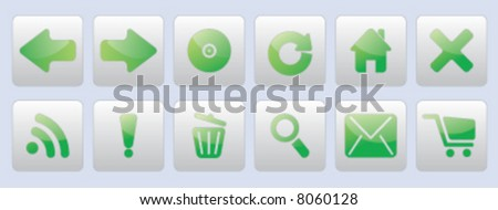 Green glassy internet button icons