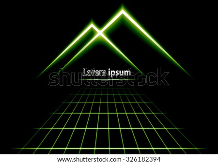 Green glitter abstract futuristic perspective background with simple mountain logo. Vector illustration - stock vector