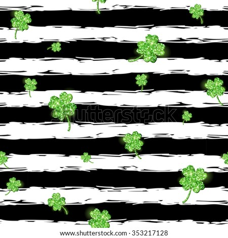 Green glittering clover leaves, confetti on black and white stripe background. Seamless Pattern for Patrick's Day. Vector illustration. Shining creative wallpaper. Lucky four leaf clovers - stock vector