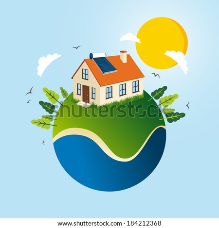 Green Globe concept illustration with solar panel energy house. EPS10 vector file organized in layers for easy editing. - stock vector