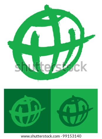 green globe icon - stock vector