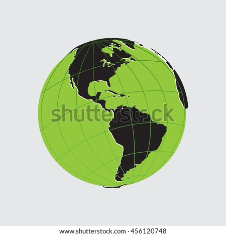 Green Globe icon with  map of the continents of the world. Earth icon, Earth icon eps10, Earth icon vector, Earth icon eps, Earth icon flat,  Earth icon web, Earth icon art, Earth icon, Earth icon - stock vector