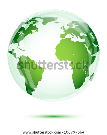 Green globe isolated on white - stock vector
