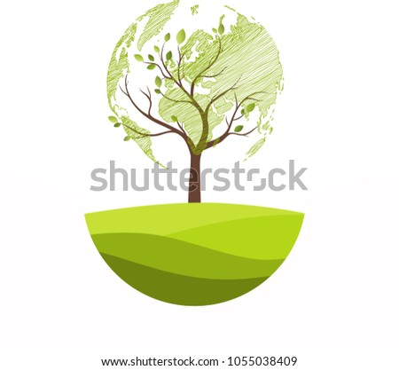 Green Globe On Tree Tree Globe Stock Vector 1055038409 Shutterstock