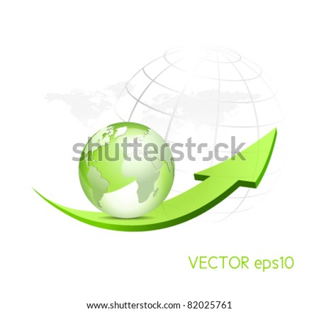 Green globe with arrow and dotted world map in the background - glossy eco symbol
