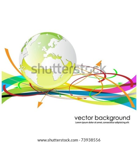 green globe with colorful arrows- vector design
