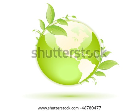 green globe with green concept - stock vector