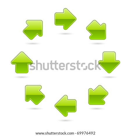 Green glossy arrow icon web 2.0 button with shadow on white background