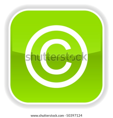 Green glossy button with copyright symbol on white - stock vector