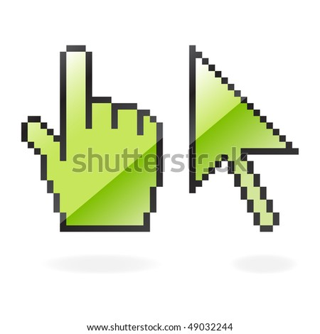 Green glossy cursor and hand with shadow on white