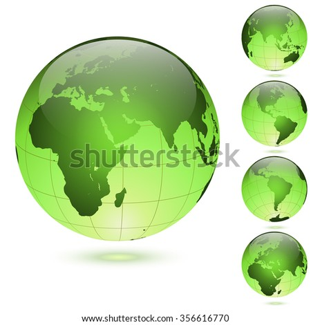 Green glossy globes set isolated on white background. - stock vector