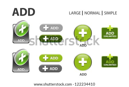 green glossy web button with add sign. Rounded square shape icon with shadow - stock vector