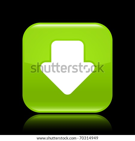 Green glossy web 2.0 button with arrow download sign. Rounded square shape with reflection on black background - stock vector